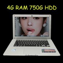 14 inch windows7/8/10 laptop Computer PC In-tel Pentium 2.0GHZ Quad Core 4GB DDR3 750GB WIFI HDMI WEBCAM Slim Ultrabook