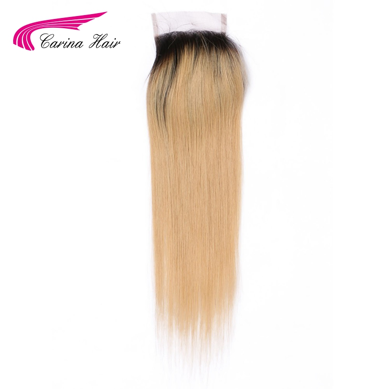 Carina Hair Ombre Color Brazilian Remy Human Straight 1b / 27 # 4 * 4 - Մարդու մազերը (սև) - Լուսանկար 1