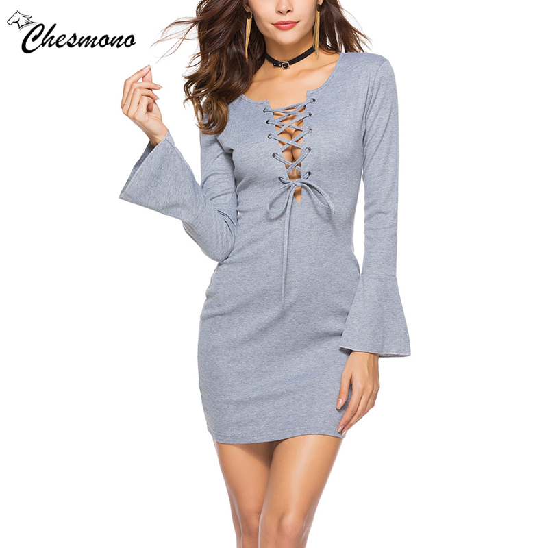 Women Sexy Cross Strap Dress Slim Long Flare Sleeve Mini Dresses Basic Solid Color Knitted Street Wear casual Dresses