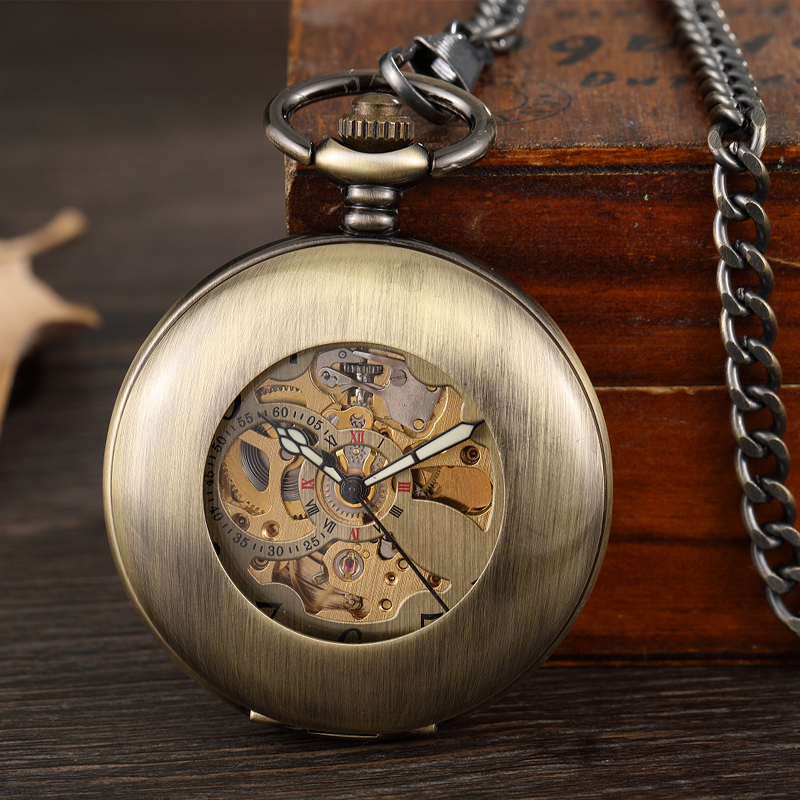 Bronze Smooth Black Hollow Mechanical Pocket Watch Male Clock Roman Skeleton Steampunk Pocket Watch Men Women Hanging Fob Chain fashion silver steel steampunk mechanical pocket watch men women necklace clock gift fob vintage hollow pocket watch p802