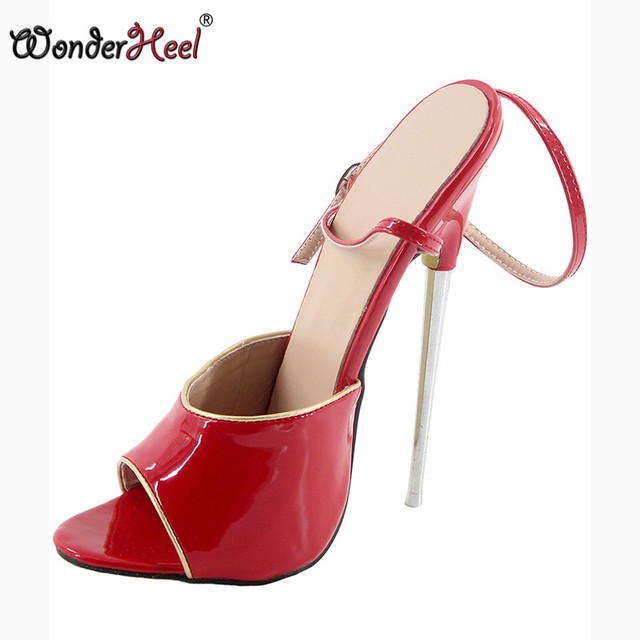 914a74d665e US $60.2 30% OFF|Wonderheel 2017 summer Extreme high heel 18cm metal heel  red shiny Sexy fetish High Heel ankle strap women sandal with gold pipe-in  ...