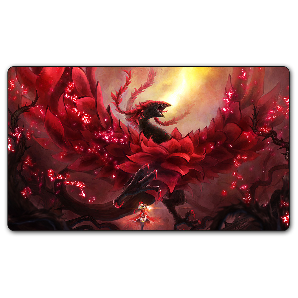(#74 YGO Playmat) 14x24 Inches YU-GI-OH Flaming Phenix Board Games YuGiOh Card Games MGT Table Pad with Free Gift Bag