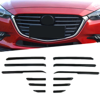 ABS Chrome Carbon Fiber Style Front Central Grille Grill Plate Strip Cover Trim 12 Pcs Fit For Mazda 3 2017 2018 Exterior Kit