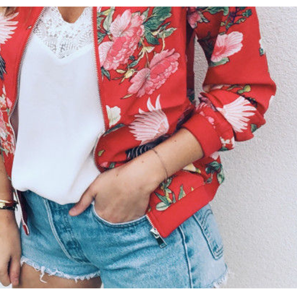 Floral Spring Women Bomber Jacket Plus Size Short Female Coat Zipper Chaqueta Outwear Long Sleeve Women's Jackets