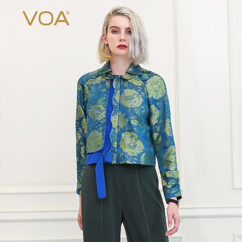 VOA Chinese Brocade Silk Jacket Women coat harajuku ladies jas dames kurtka blouson femme outerwear casacos giubbotti donna W368
