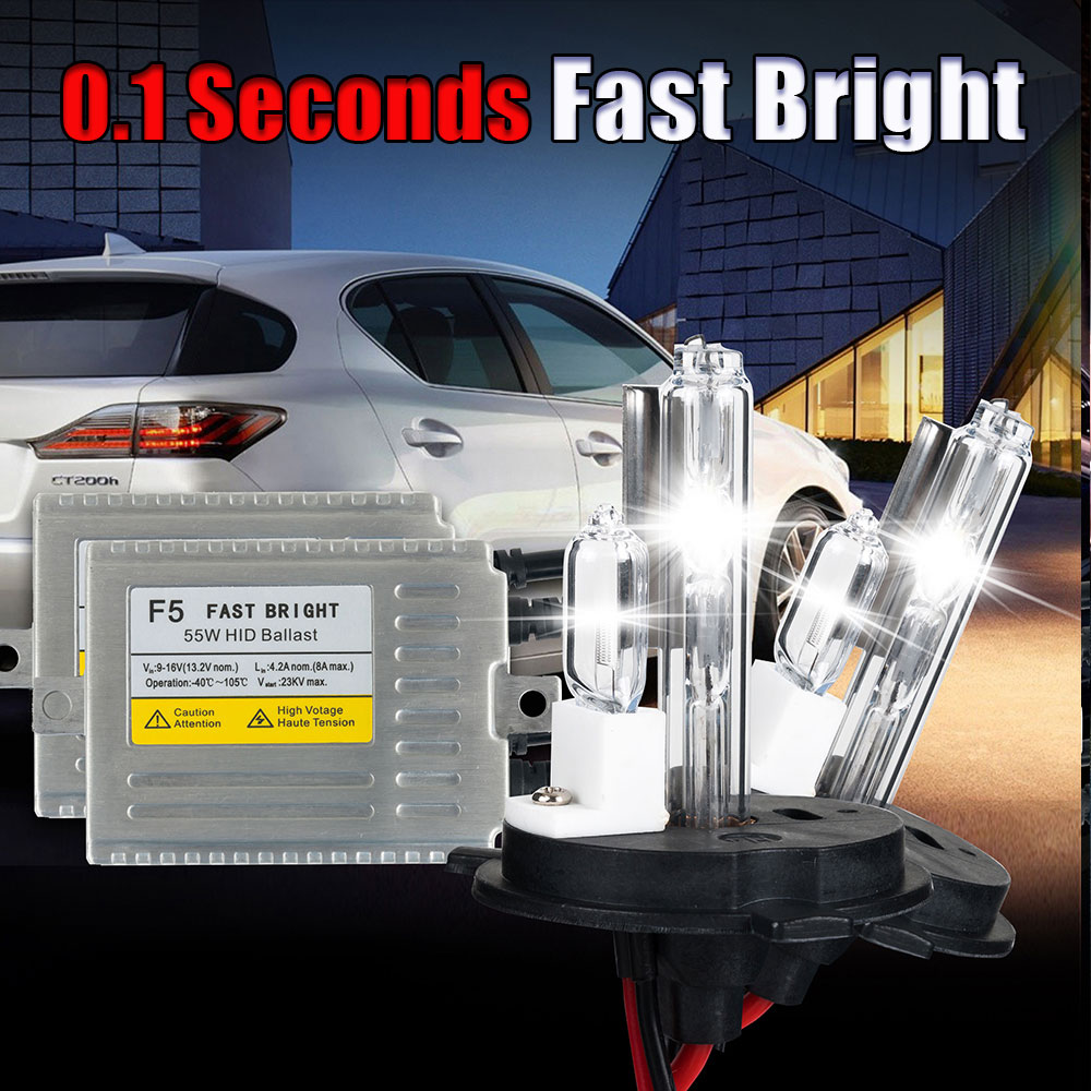 ФОТО F5 55w Fast bright XENON H4 car HID headlight bulb kit H4 XENON