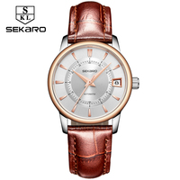 SEKARO Brand Blue Leather Women's Mechanical Watch Stainless Steel Ladies Watch Automatic Watch Ladies Luxury Brand For Gift