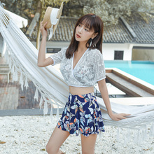 The New 2019 Bikini Set Swimwear Female Three-piece Suit Backless Skirt Steel Hot Spring Bathing Suit shanqi polyester swimming suit woman smock bikini three piece small gather together steel support sexy hot spring swimwear