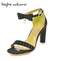 2018 Ankle Strap Heels Women Sandals Summer Lady Shoes Bow Toe Fairy Chunky High Heels Party Dress Sandals Size 34~39