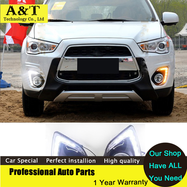 car styling New 12V 9 LED light DRL Daytime Running Lights For Mitsubishi ASX 2013 2014 with Fog Lamp Turn Signal Car Styling new auto car led drl daytime running lights turn fog lamps cover for mitsubishi asx 2013 car light free shipping