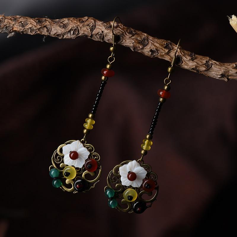 ethnic drop long dangle trendy earrings for women shell flower bronze alloy hanging red green stone hook vintage jewelry fashion