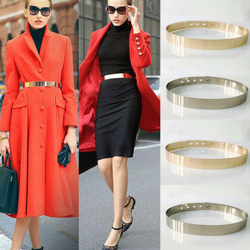 Women Adjustable Metal Waist Belt Metallic Bling Full Metal Waist Mirror Wide Gold Plate Slim Simple Belt