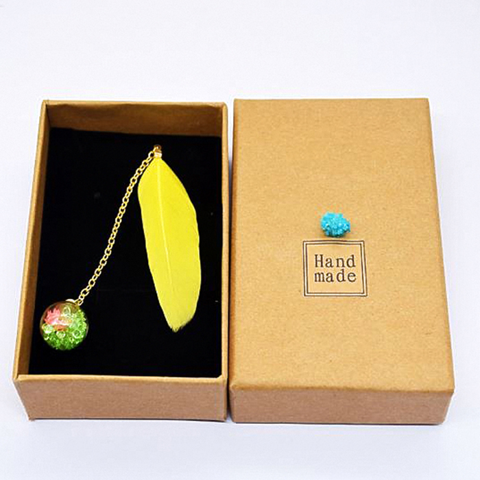 1 Pc Lovely Boxed Colorful Feather Glass Ball Bookmark Paper Animals Bookmark Book School Office Supplies Stationery