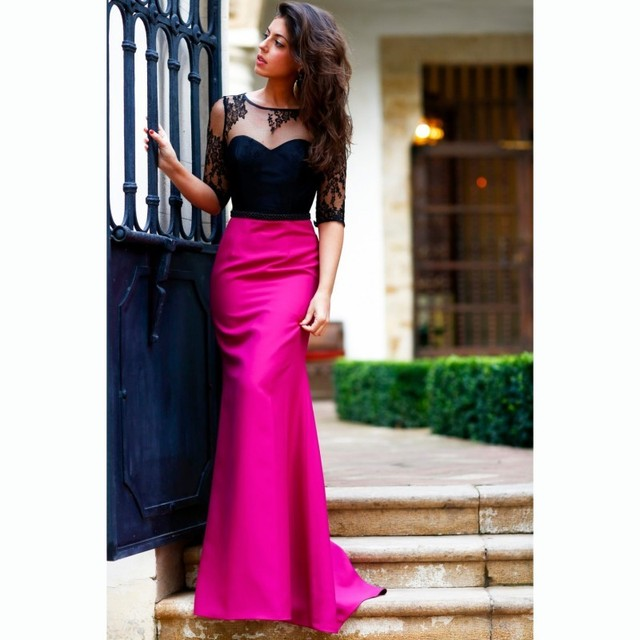 Hot Pink Mermaid Prom Dresses 2017 With Half Sleeves Backless Long ...