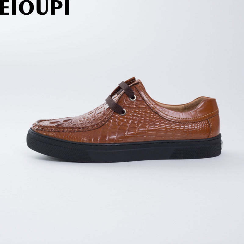 EIOUPI new design real crocodile grain leather mens fashion business casual shoe men breathable shoes e887 2017 new spring imported leather men s shoes white eather shoes breathable sneaker fashion men casual shoes