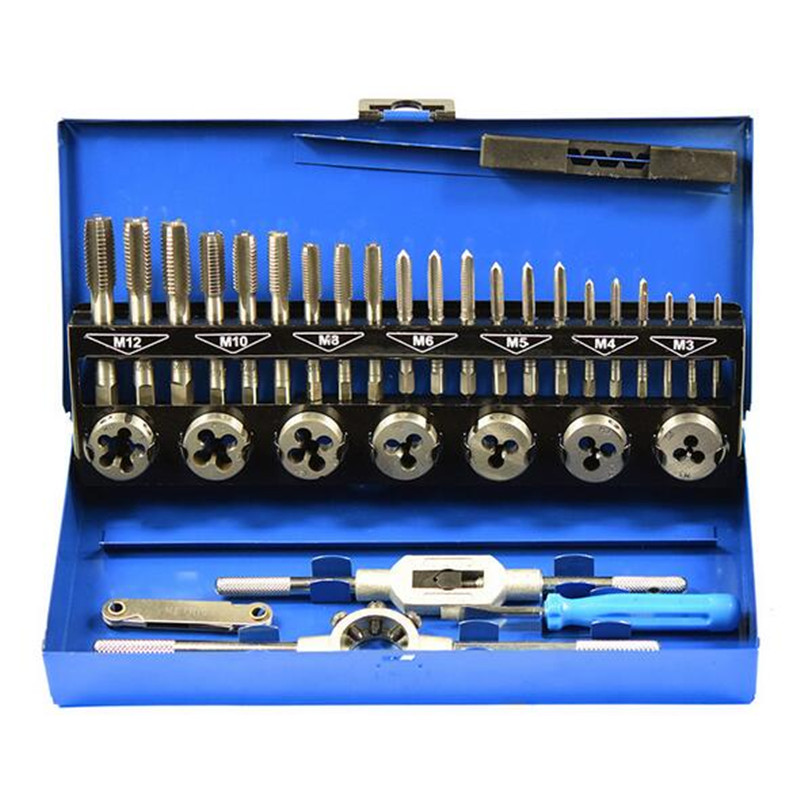 все цены на Hand Tool Set Metric Taps Wire Alloy Tool Steel Cutting Die Tapping Set 32pcs/set Tap Die Set Vehicle Maintenance Accessories онлайн