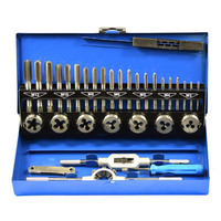 Hand Tool Set Metric Taps Wire Alloy Tool Steel Cutting Die Tapping Set 32pcs/set Tap Die Set Vehicle Maintenance Accessories