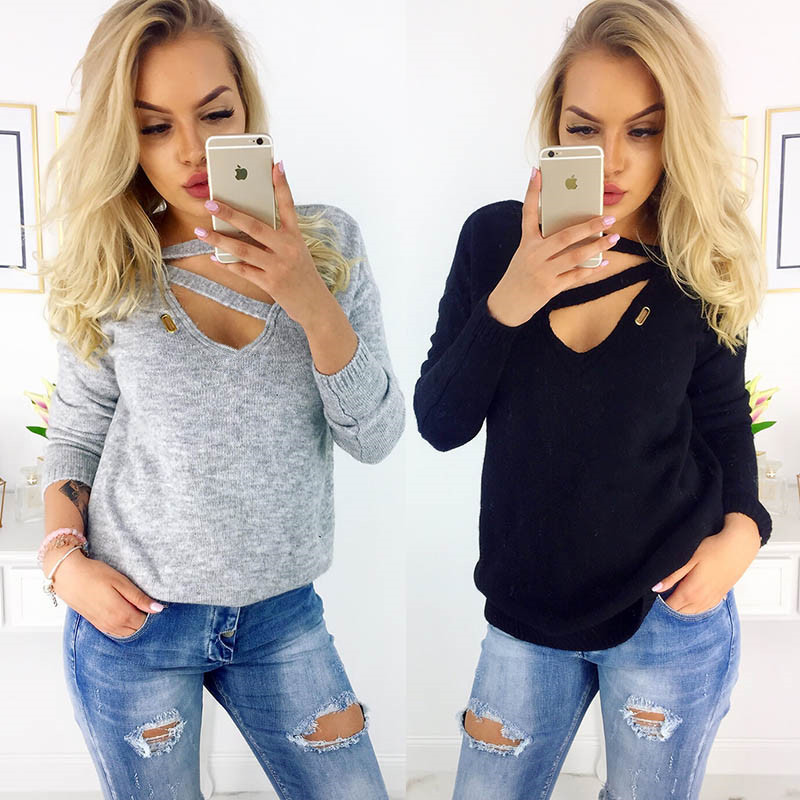 2018 Autumn Winter Women Tops Solid Color Long Sleeve V-Neck Woolen Clothe Casual Vogue Personality Collar Knitted Sueter Mujer