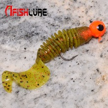 6pcs/lot Afishlure Screw curly tail soft grub 60mm 3g jerkbait wobbler jigging Capuchin Maggots fishing lure silicone bait