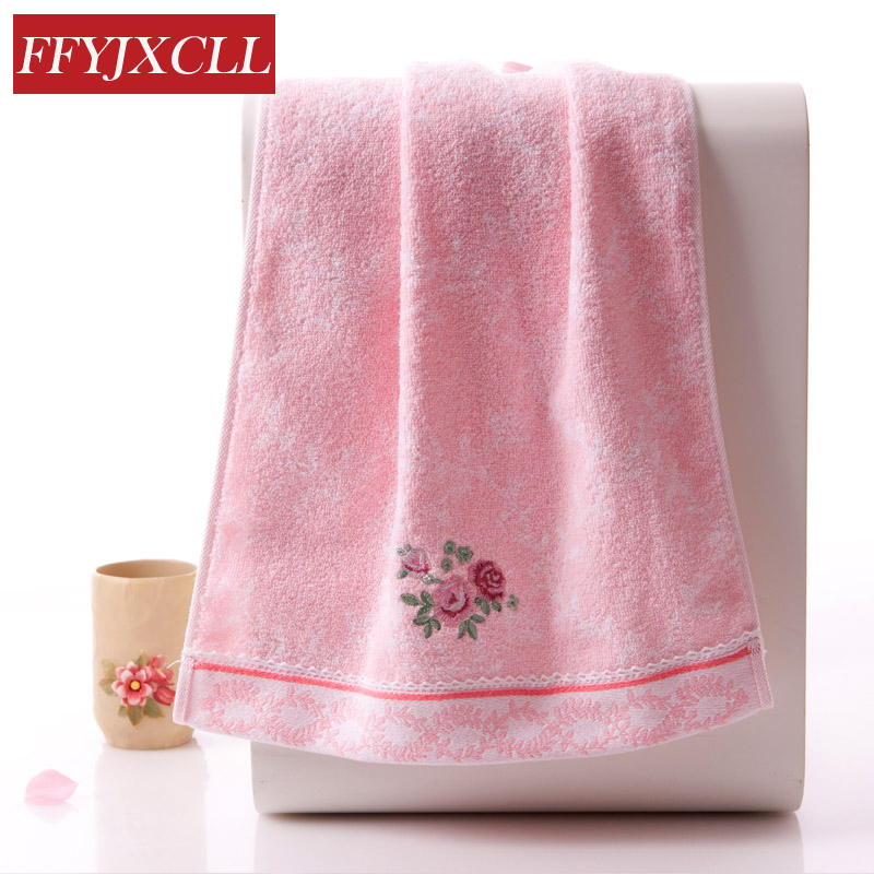 Rose Embroidered Towels: Lace Embroidered Rose Washcloth 70*34cm 100%cotton Hand