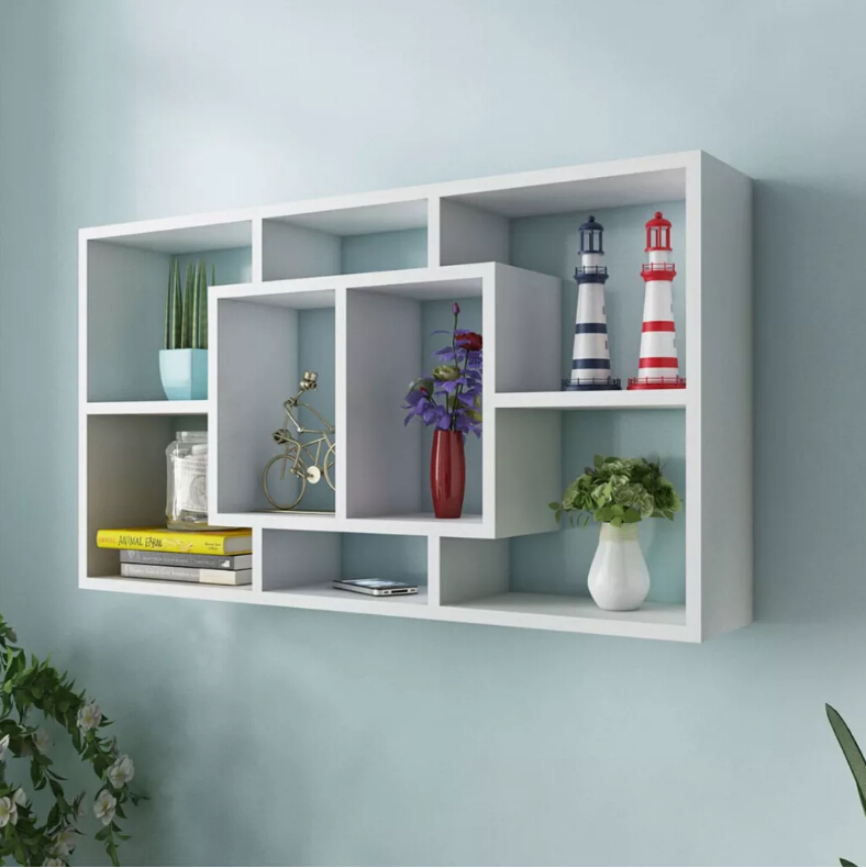 VidaXL Solid Wooden Floating Wall Display Shelf Modern Wall Mounted Storage Rack 8 Compartments Oak Colour Home Decor