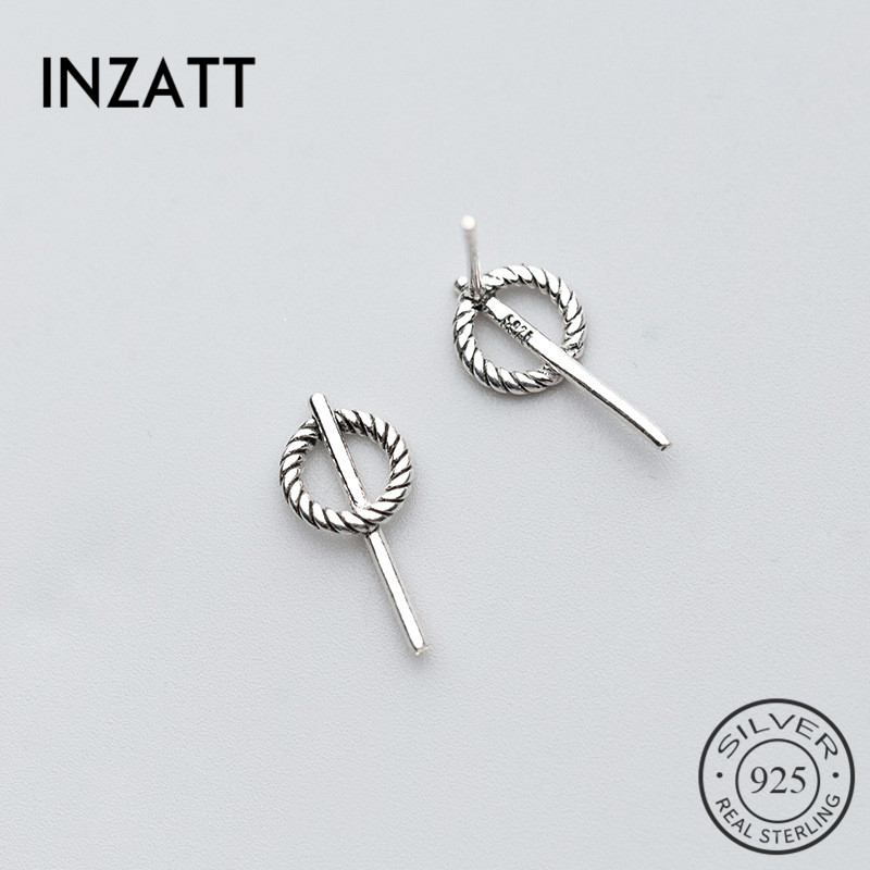 INZATT Minimalist Geometric Hollow Round Spiral Stud Earrings For Women Party Stick Bar Fashion Jewelry Accessories 2020 Gifts