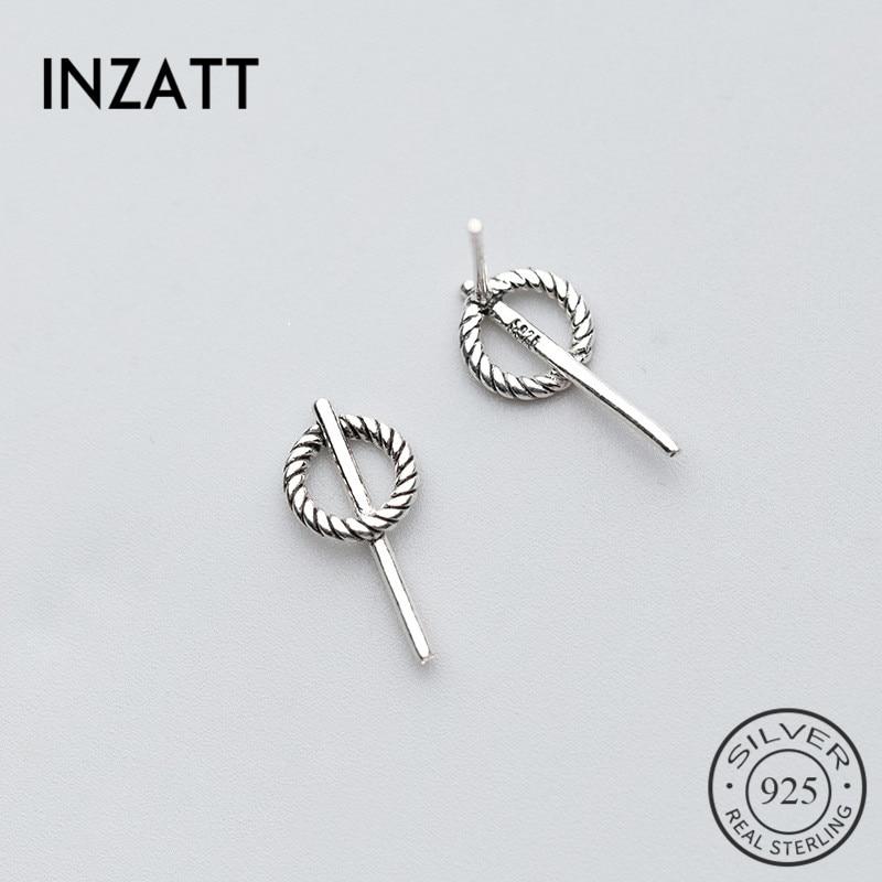 INZATT Minimalist Geometric Hollow Round Spiral Stud Earrings For Women Party Stick Bar Fashion Jewelry Accessories 2020 Gifts