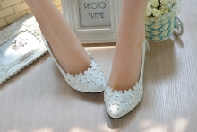 Women Pumps White Wedding Shoes Spring Autumn Sweet Shoes square Heel med slip-on Shoes Large Size 35-42 Free Shipping