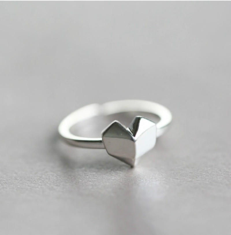 Silver Color Love Heart Ring TrendyJewelry Delicate Design Opening Adjustable Rings for Women Ladies Rings Knuckle Finger Ring
