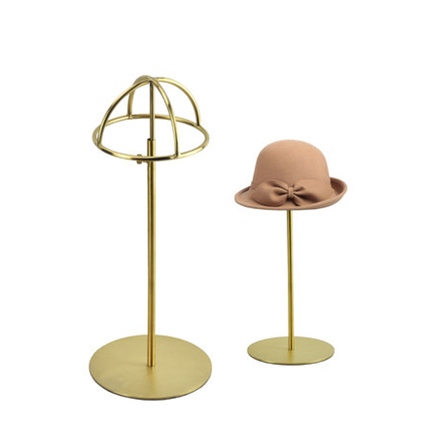 Free shipping Metal Hat display hat stand Gold hat display rack stainless steel hat holder cap display HH014-Brushed Gold black metal hat display stand black hat display rack hat holder cap display