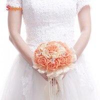 Simulation European Style Wedding Bouquet Organge Color Flowers Beaded Handemade Wedding Accessories buque de noiva WB01