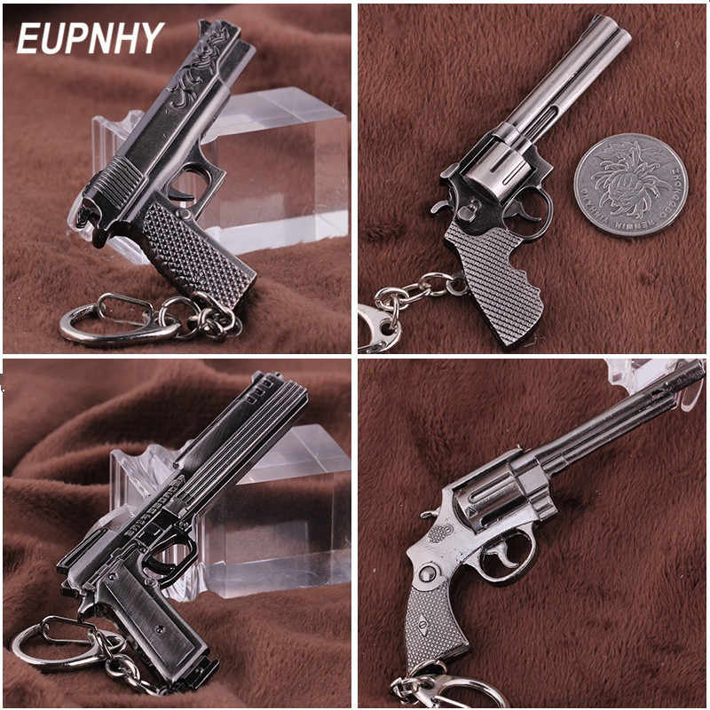 EUPNHY 4 Styles Fashion Miniature Revolver Pistol Weapon Gun Keychain Keyrings Vintage Retro Mini Gun Key Chain Gifts for Friend