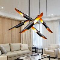 Modern novelty chandelier art decoration bamboo chandelier black metal E27 lamp restaurant bar bedroom