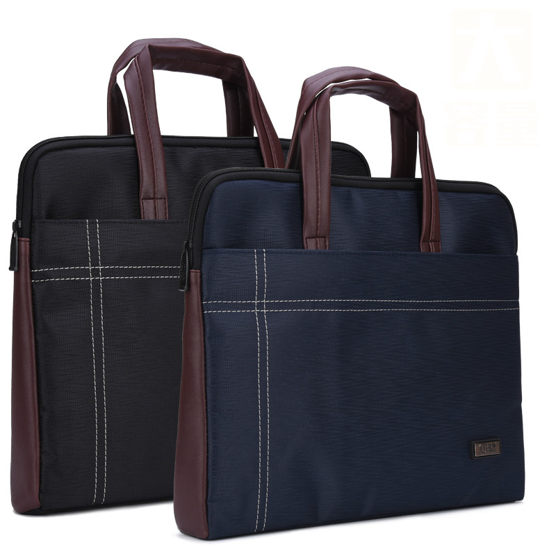 Portable Document Bag A4 Zipper Large Widened Oxford Cloth Briefcase Files Folder For Male And Female Business Office Organizer