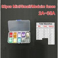 92pc Assorted Micro Mini Small Medium Blade Fuse 2A 3A 5A 7 5A 10A 15A 20A