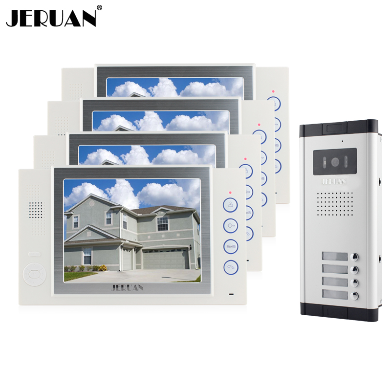 JERUAN Brand New Apartment Intercom 8`` LCD Video Door Phone Doorbell intercom System for 4 house 1V4+8GB card+free shipping free shipping 600x 4 3 lcd display microscope zoom portable led video microscope with aluminum stand for pcb phone repair bga
