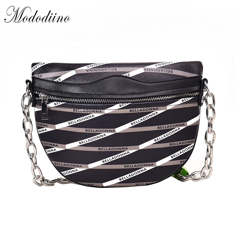 Mododiino Letter Printing Saddle Bucket Shoulder Bags And Handbags Chains Crossbody Bags For Women PU Leather Totes Bag DNV1049