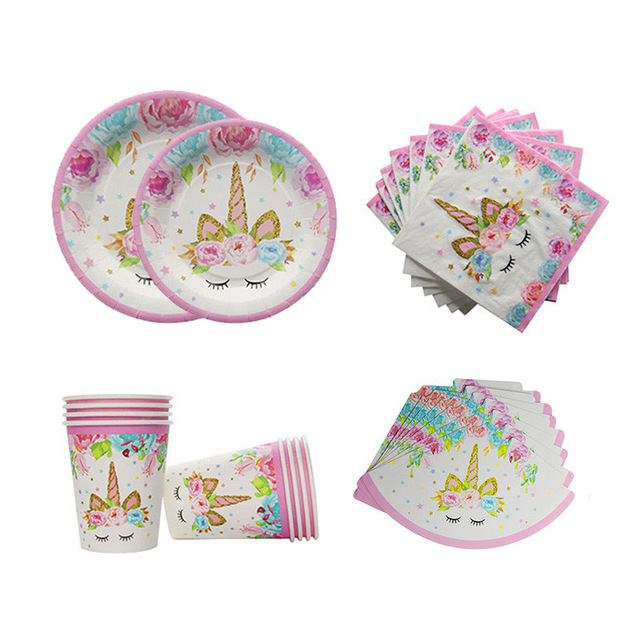 Unicorn Party Kits Paper Cups Plates Napkin 1st 2st 3st Sweet 16 Birthday Decorations