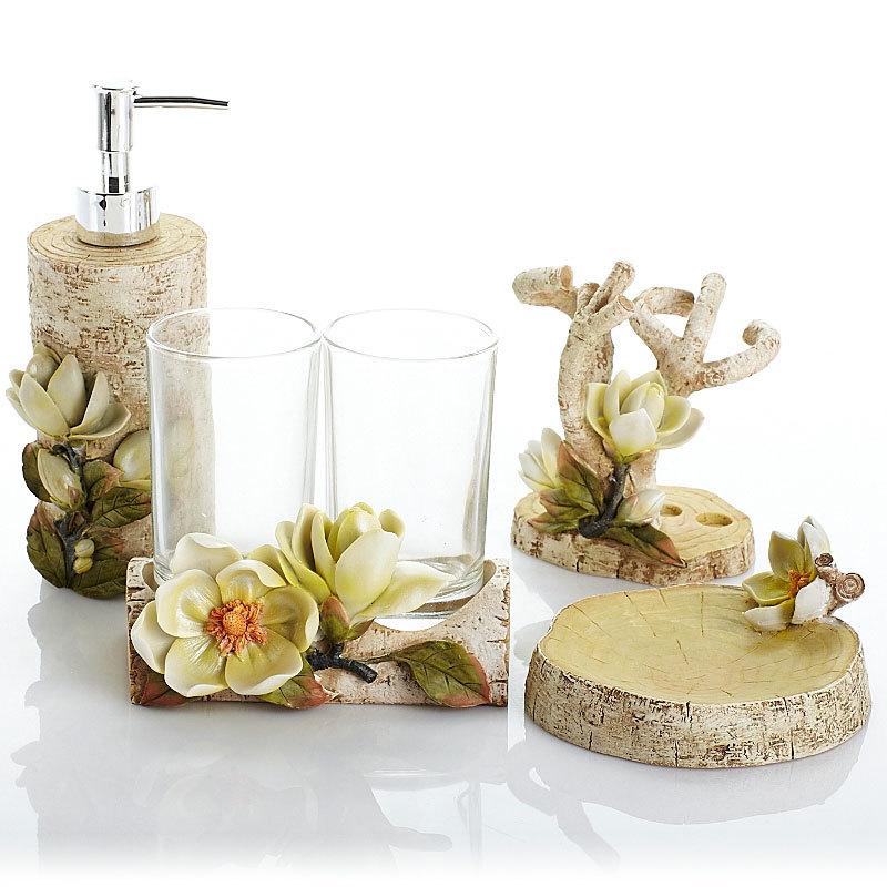 Resin bathroom five-piece bathroom kit sanitary ware magnolia open bathroom bathroom toiletries wedding set LO726615 bathroom