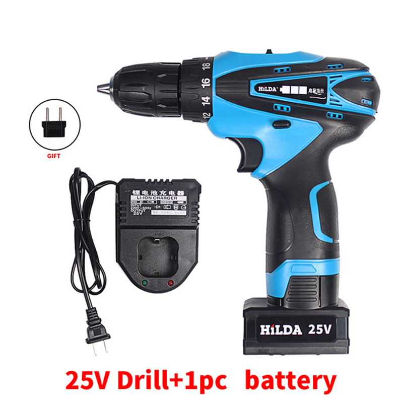 25V 1pcs Lithium Battery household wireless electric drill Torque drill bits Hand Drill electric screwdriver wrench power tool 25v lithium battery household wireless electric drill torque drill bits hand drill electric screwdriver wrench power tool