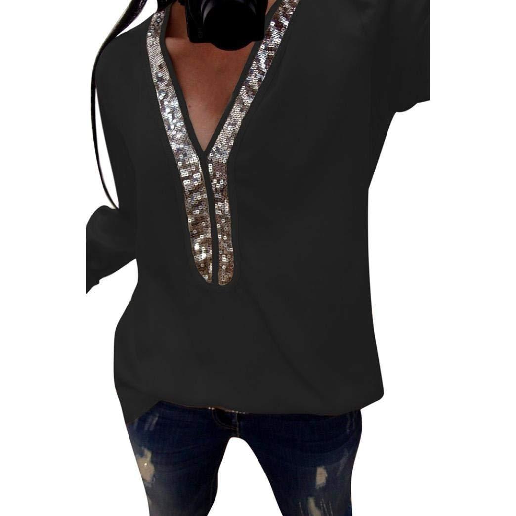 Sequins Shirt Women 2018 Autumn Long Sleeve V-neck Plus Size Casual Blouse Women Shirts Tops Patchwork Streetwear S-5XL WS9722M 3