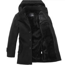 2013 мужская шерстяное пальто длинный толстый теплый отдых шерсть ветровка мужской моды с капюшоном шерсть плащ плюс размер S-XXXXL H1925