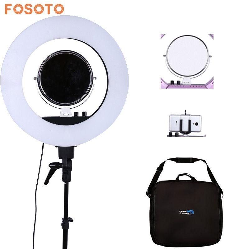 Fosoto 18 5500 K Dimmable LED Réglable Anneau Lumière 480 led 5500 K Caméra Macro Ring Lumière pour le Maquillage et Beauté Photographie/vidéo