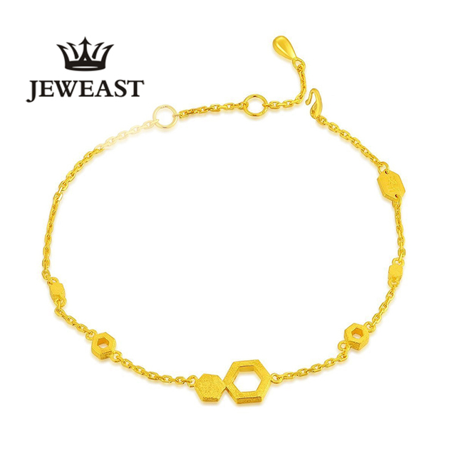 24kPure Gold Bracelets Hollow Hexagon and Hexagonal Graphics Together Focomplete Integrity Elegant Charm Bangle 999Solid Gold