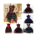 free shipping Burlesque Corset & tutu /skirt Fancy dress outfit Hen Party Costume with boa without party hat