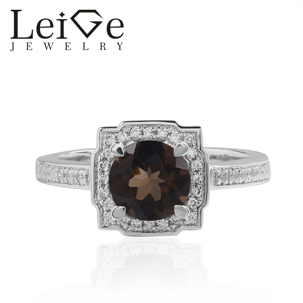 Leige Jewelry Smoky Quartz Rings Brown Gemstone Round Cut Halo For Woman 925 Sterling Silver Romantic Gift RingLeige Jewelry Smoky Quartz Rings Brown Gemstone Round Cut Halo For Woman 925 Sterling Silver Romantic Gift Ring