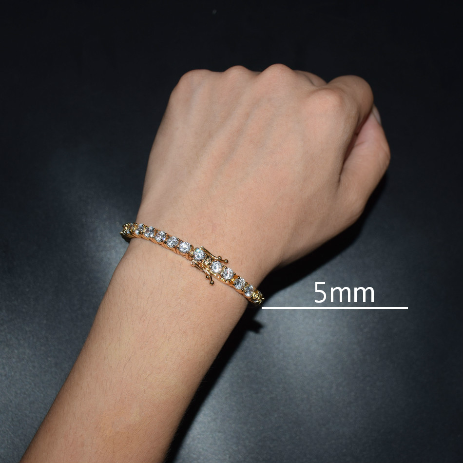 3mm 4mm Mens AAA Cubic Zirconia Tennis Bracelet Chain Hip Hop Jewelry 1 Row Gold Color CZ Bracelet Link Birthday Gift