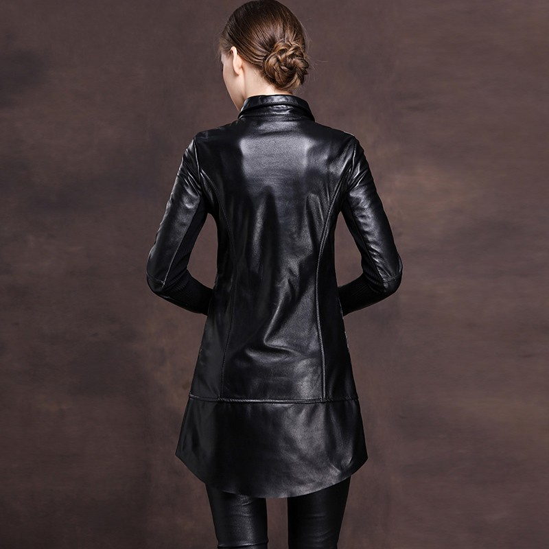 2019 New Office Ladies Lapel Collar Single Breasted Genuine Leather Mini Dress Women Rivet Punk Plus Size M-6XL Loose Fit Robe