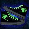 2016 primavera nuevos Hombres zapatillas Japonesa anime Fairy Tail imprimir fluorescencia hombre zapatos de lona de plataforma Zapatos casuales gumshoe