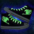 2016 spring new Men shoes plimsolls Japanese anime Fairy Tail print fluorescence canvas shoes man platform casual Shoes gumshoe